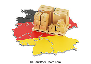 Shipping and Delivery from Germany concept, 3D rendering