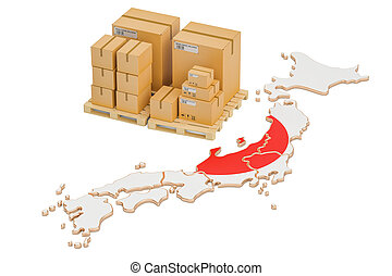 Shipping and Delivery from Japan concept, 3D rendering