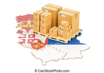 Shipping and Delivery from Serbia concept, 3D rendering