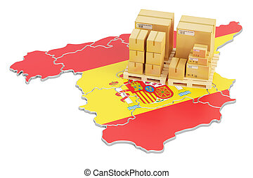 Shipping and Delivery from Spain concept, 3D rendering