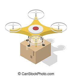 Shipping and global delivery by drone illustration -...