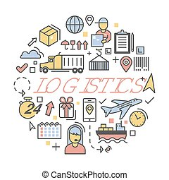Shipping and Logistics Icons Set Delivery Service. Vector illustration