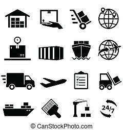 Shipping and logistics icons - Shipping, cargo and logistic ...
