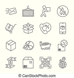 Shipping and Logistics Icons with White Background. Editable Stroke