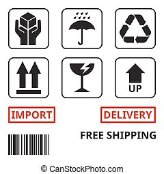 shipping and package handing symbol for carton box, handle ...