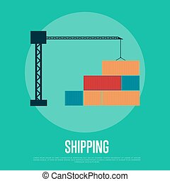 Shipping banner with freight crane