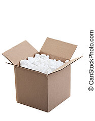 shipping box - Cardboard box with styrofoam packing peanuts ...