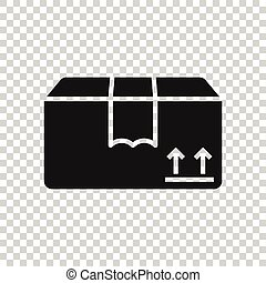 Shipping box icon in flat style. Container vector illustration on white isolated background. Cardboard package business concept.