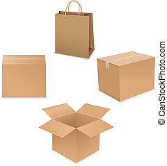 Shipping Box Set, Isolated On White Background, Vector...