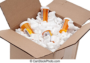 Shipping box of imported medication