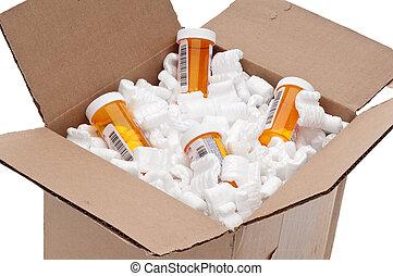 Shipping box of imported prescription medication