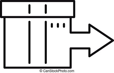 Shipping box relocation icon, outline style - Shipping box ...