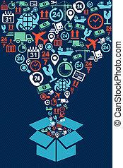 Shipping box web icons splash illustration.