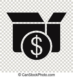 Shipping box with dollar icon in flat style. Container vector illustration on white isolated background. Cardboard package business concept.