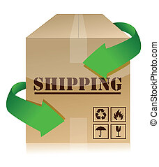 Shipping box with green arrows illustration design