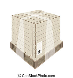 Shipping Box with Plastic Wrap and Steel Strapping - An...