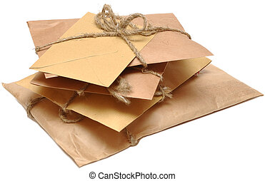 shipping boxes isolated on white - brown shipping parcel ...