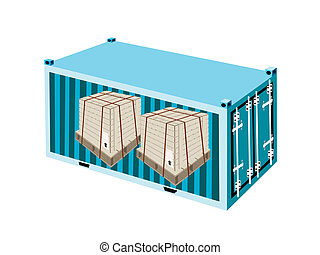 Shipping Boxes with Steel Strapping in Cargo Container - A...