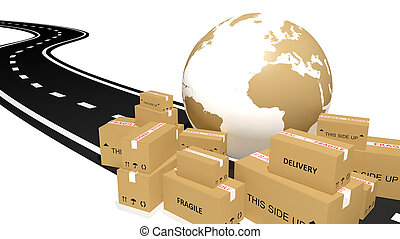 Shipping cardboards and globe on the road