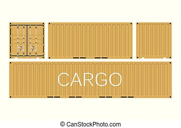 Shipping cargo container isolated on white background