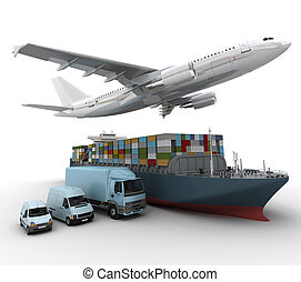 shipping company - 3D rendering of a flying plane, a truck, ...