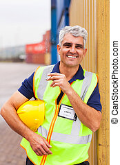 shipping company worker smoking during break