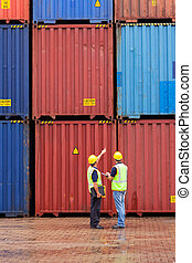 shipping company workers counting containers at depot