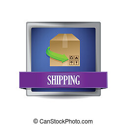 shipping concept button illustration design