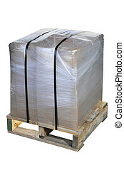 Shipping Container - A heavy package wrapped in plastic and...