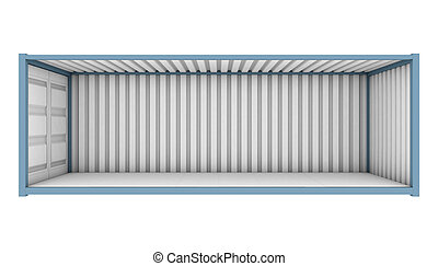 Shipping Container Cutaway - A blue shipping container with...