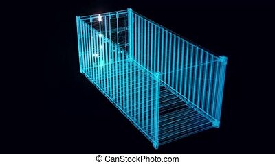 shipping container hologram Rotating. High quality 4k footage