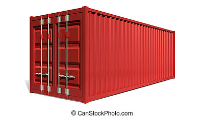 Shipping Container Red - A render of a red shipping ...