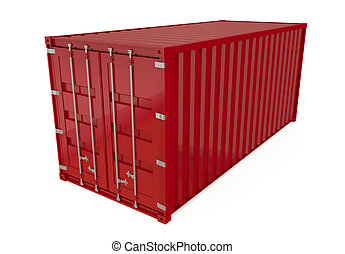 Shipping Container - Red shipping container isolated on...