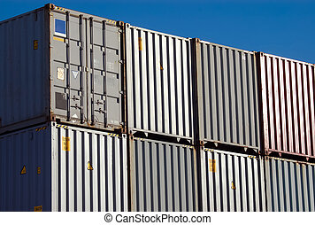 Shipping Container - Stacks of shipping containers in port...