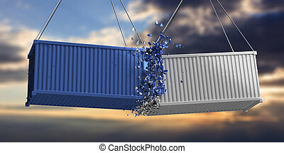 Cargo shipping containers crashed on cloudy sky at sunset background. Imports exports, products storage transportation and delivery accident concept. 3d illustration