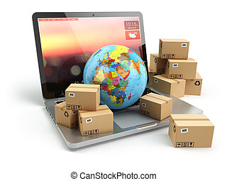 Shipping, delivery and logistic concept. Earth and cardboard...