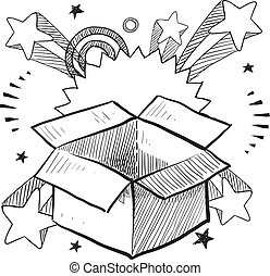 Doodle style package or present box on 1960s or 1970s pop explosion background.