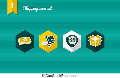 Shipping flat icons set.