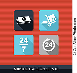 Shipping flat icons set.
