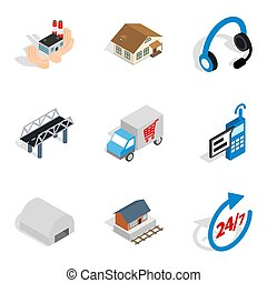 Shipping home icons set, isometric style - Shipping home...