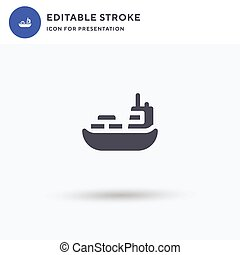 Shipping icon vector, filled flat sign, solid pictogram isolated on white, logo illustration. Shipping icon for presentation.
