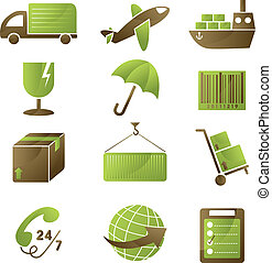 Shipping icons - A vector illustration of a collection of ...