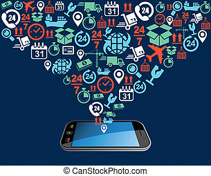 Shipping icons composition splash mobile app illustration.