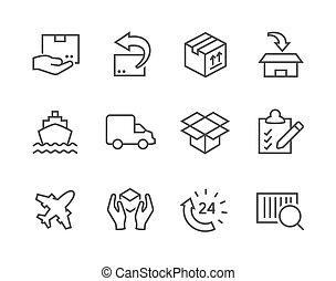 Simple icon set related to shipping and logistics for your design.