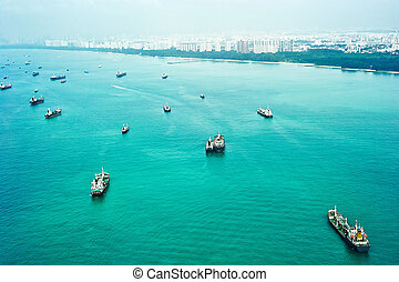 Shipping in Singapore - Many ships in Singapore harbor....
