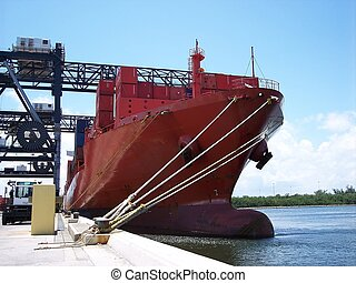 Shipping Industrial Commerce - Ship in port loading and...