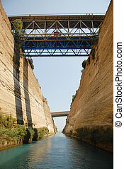 Shipping Industry through Corinth Canal, Greece