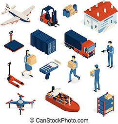 Shipping Isometric Icons Collection