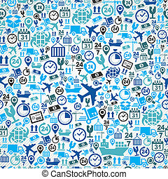 Shipping logistics concept blue icons, seamless pattern background. Vector layered for easy editing.