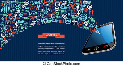 Shipping logistics application: text ribbon place your text here concept icon splash, smart phone illustration. Vector file in layers for easy editing.